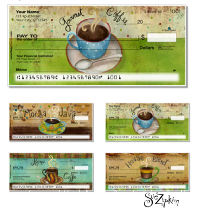 Sue Zipkin Coffee checks and labels